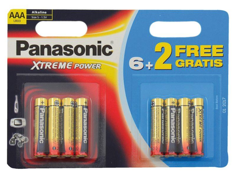 BATT PANA PENLITE AAA LR03 ALKALINE XTREME POWER 6+2 ACTIEPACK