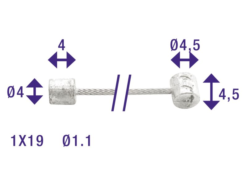 Cordo binnenkabel versteller 225cm/ø1,1mm rvs + 2